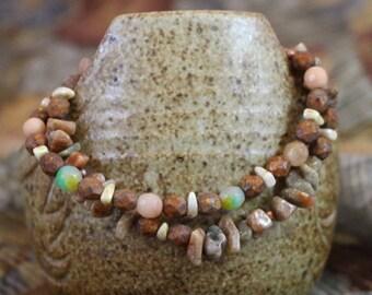 Viking inspired double strand bracelet,autumn jasper, flower jade, fire polished Czech glass, copper lobster clasp and twist ring, B158
