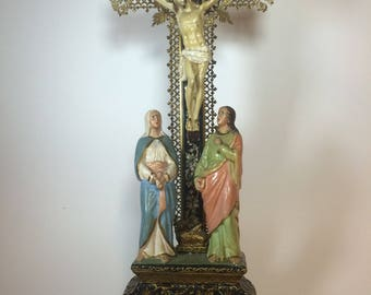 Ancient Sculpture Statue of the crucified Christ with Mary and Magdalene early ' 900 unique and rare-Metal Bohemia