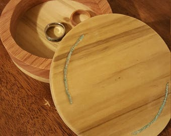 Poplar and oak turquoise inlayed jewelry box