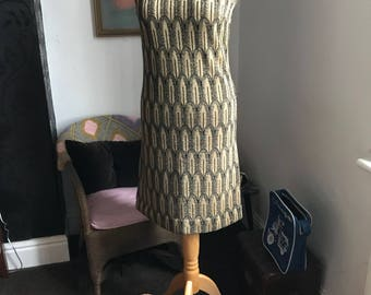 1960s Lurex Black and Gold Brocade Dress