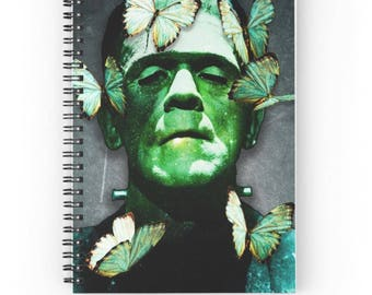 15x20 cm, Frankenstein Notebook, Frankenstein Spiral Notebook, Frankenstien Journal, Butterfly Journal, Plants Journal, Vintage Journal
