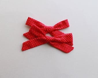 Red Polkadot Hand-tied | Schoolgirl Bow, Baby Headband, Hand-tied bows, Hair Clip, Bow Clips, Girls Hair Clip, Pigtail Clips, Pigtail Bows