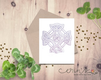 Watercolor Cross Card~Hand Drawn Celtic Cross~Blank Card~Knotwork Notecard~Everyday Card~Scottish Card~Irish Notecard~Hand Drawn Knotwork