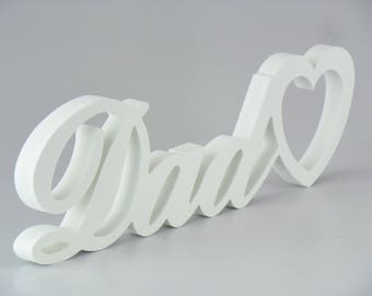 Free Standing 'DAD' Plaque/Sign Home Decor Single Heart Gifts