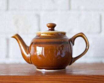 Vintage Small Brown Betty Sadler Tea Pot 1.5 Cup Brown With Dark Brown Stripes