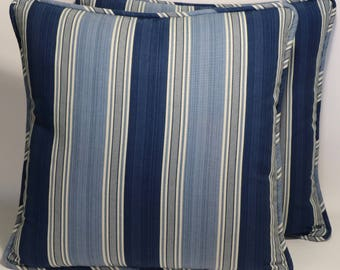 "Stripe Decorative Throw Pillow,2 18"" Waverly Spotswood Blue Stripe Designer Throw Pillows &  Forms,Home Living,Home Decor, Accent Pillow"