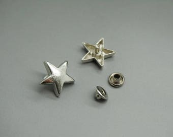 SET of 10 (10 Star RIVETS + 10 ties) Silver Star (W64)