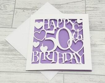 50th Birthday Card, fiftieth birthday, 50th card, happy 50th birthday, special birthday, Card for her, happy 50th, 50th birthday cards