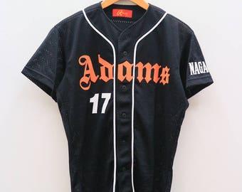 Vintage RAWLINGS Adams 17 Nagaoka Sportswear Black Buttondown Shirt