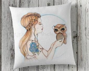 Owl Pillow, 70's Pillow, Woodland Whimsical Pillow, Fantasy Pillow, Girls Room Pillow, Woodland Decor, Decorative Pillow, Owl Decor