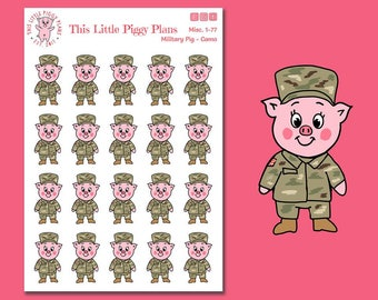 Military Planner Stickers - Soldier Planner Stickers - Veteran Stickers - Hand Drawn Stickers - Pig Stickers - Camo - [Misc. 1-77]