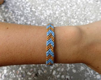 Periwinkle and Yellow Woven Crochet Macrame Friendship Bracelet Adjustable