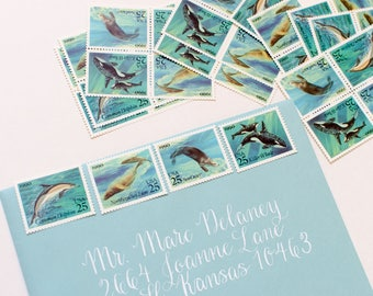 Dolphins and Whales Ocean Blue-- Unused Vintage Stamps -- 40 Stamps