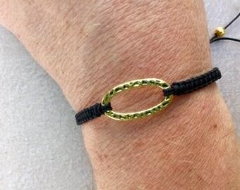 Gold Ring macrame bracelet