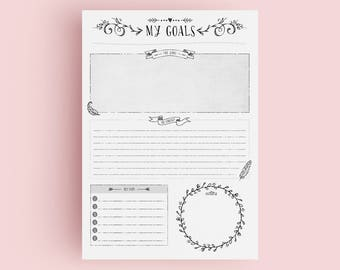 Goal Planner Page - Garden - A4/A5/US Letter Sizes - Printable - Beautiful Clean Goal Planner - Desk Planner - INSTANT DOWNLOAD