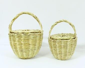 JANE BIRKIN BASKET with Lid // Handmade basket with lid // Handwoven Birkin Basket //Eco-friendly // Natural color