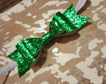 5in green glitter leather double stacked bow on elastic