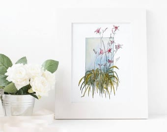 Pink Lilies – Watercolor Print – Instant Download, Flowers Watercolor