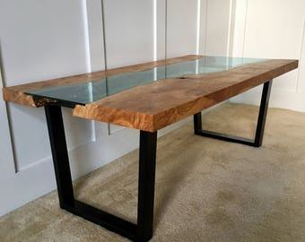 Spalted tiger maple live edge slab coffee table
