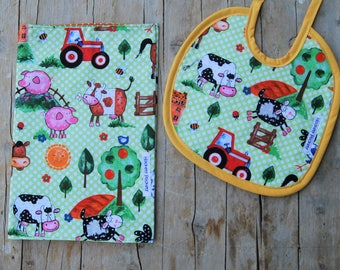 Nappy farm animals and cotton and Terry bib