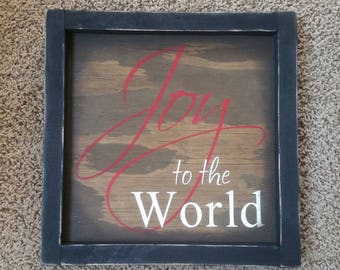 Christmas: Joy to the World framed sign