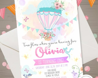 Hot Air Balloon Invitation Hot Air Balloon 1st Birthday Invitation Baby  Shower Invitation Watercolor Pink Mint