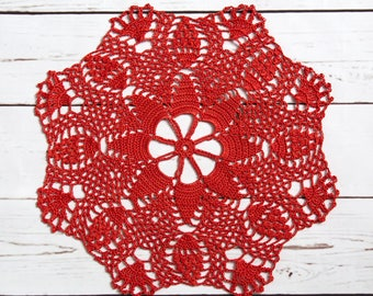 "Red orange doily, crochet lace doily 33 cm 13"", round cotton doily, red table decor, red table centrepiece, handmade cotton doily, gift idea"