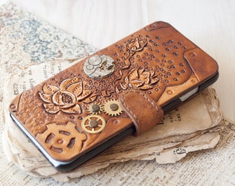Steampunk iphone 6 PLUS wallet steampunk iphone case phone case real leather mobile case Steampunk GIFT for her Embossed phone case
