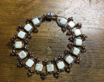 Cream and Copper Riverwalk Wrap Bracelet