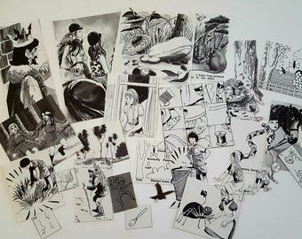 30pc Die Cut Hand Cut Children Animals Black And White 70s Annual Ephemera For Scrapbooking, Collage, Art Journaling, Crafting, Decoupage