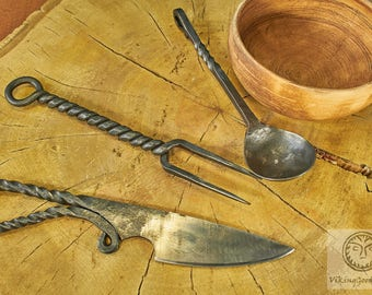 Hand Forged Dinner Set, Rustic Kitchen, Kitchen Accessories, Viking Cutlery, Medieval Cutlery, Dining Appliances, Reenactment, SCA, Replica
