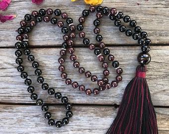 Onyx and Garnet Mala, 108 Bead Crystal Necklace, Yoga and Meditation Beads