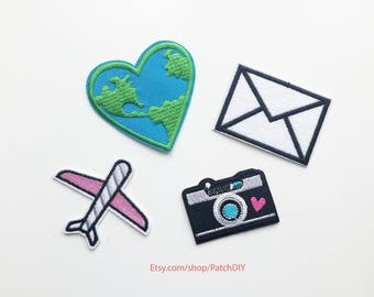Set of 4 patches TRAVEL theme iron on embroidered appliques earth camera plane enveloppe trip around the world DIY craft custom luggage bag