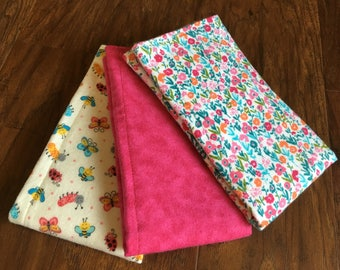 Burp Cloth, Flannel Burp Cloth, Baby Burp Cloths, Girl Burp Cloth Set, Baby Branch Boutique