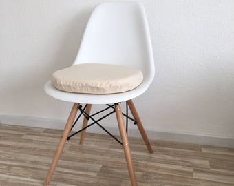 3cm or 6cm seat cover in beige natural color cotton with zipper cream