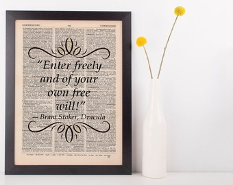 Enter freely and of your own Dictionary Art Print Book Bram Stoker Dracula
