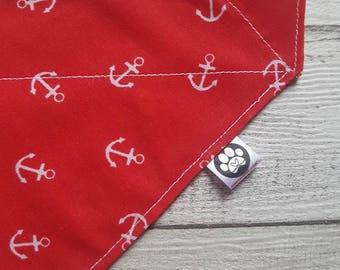 Nautical Bandana, Pet Bandana, dog bandana, cat bandana, dog accessories, pet accessories, pet wear, dog scarf, over collar bandana, anchors