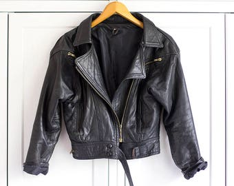 Vintage Leather Biker Jacket Black Gold Genuine Grunge Retro 90s 80s Rock n Roll Look Padded Zips and straps / Medium Large size