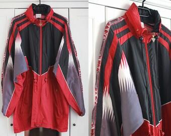 Windbreaker Vintage 90s Jacket Activewear Sweatshirt Red Black Gray Loose Oversize Sport Fitness Retro Oldschool Hip Hop