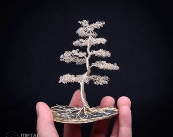 Wire Tree Sculpture - Wire Bonsai Tree - Wire Tree - Wire Sculpture - Home Decor *Silver Wire Tree Sculpture on Shell Base*