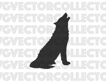 Howling Wolf, SVG DXF EPS PnG, Clip Art, Instant Digital Download