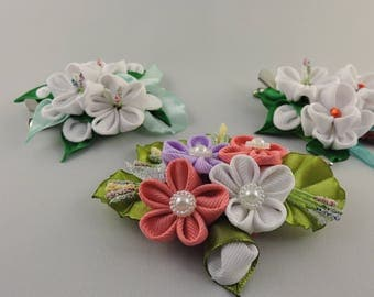 Flower hair clip. Set of 3 hair clips. Girls hair clips. Free shipping