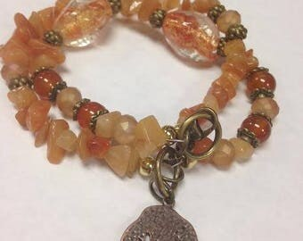 Carnelian and Red Aventurine Chip Nature Inspired Bracelet with Bronze Accents