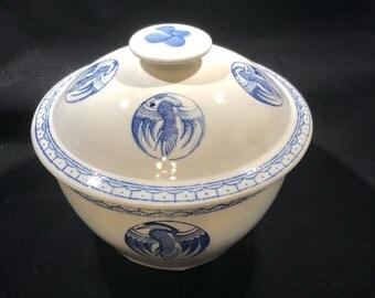 Vintage Chinese Crane Rice Covered Bowl Blue On White Heron