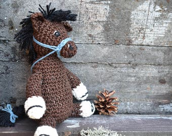 Crochet Horse Toy - Horse Plush Toy, Horse Plushie, Gift for Horse Lovers, Crocheted Horse, Brown Horse, Cute Horse, Kids Toy, Horsie