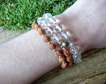 Yoga Mala (54) Rudraksha beads and natural rock crystal