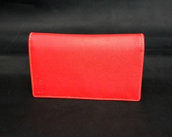 Soft red calfskin checkbook wallet
