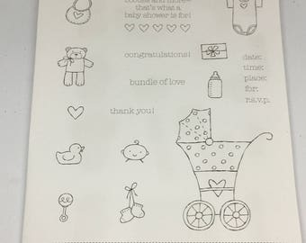 Baby Bundle Clear Mount Stamp set / Scrapbooking / Card Making Supplies / Art and Crafts / Stampin Up / Stroller / New Baby / Toddler