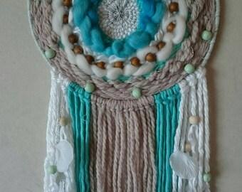 Weaving way tones dream catcher round green, Turquoise, white