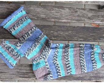 socks women's size UK 6,5-7,5 / US 8,5-9,5, hand knit, OPAL sock yarn, stripes in blue and beige